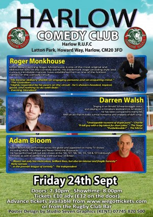 Harlow Comedy Club: Roger Monkhouse, Darren Walsh and Adam Bloom